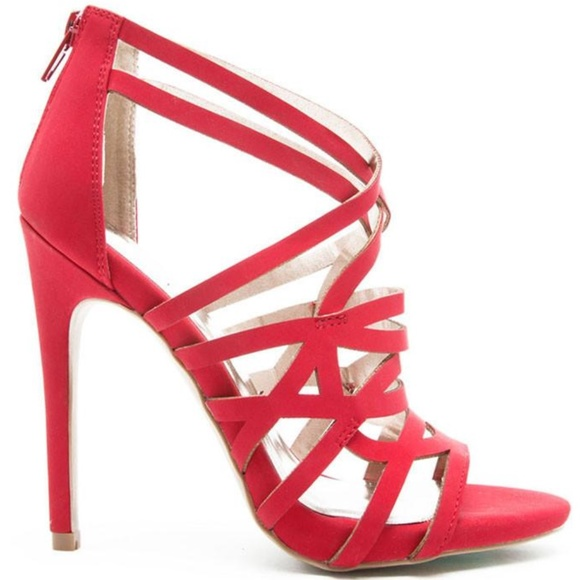 Shoes - Glee Red Faux Suede Strappy Stiletto Sandals